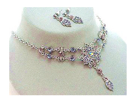vintage victorian style austrian crystal necklace set tanzanite
