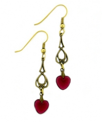 Vintage Rose Colored Glass Heart Earrings