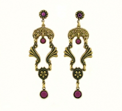 Vintage Victorian Style Amethyst Austrian Crystal Chandelier Fashion Earrings
