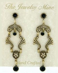 Vintage Victorian Style Jet Austrian  Crystal Chandelier Fashion Earrings