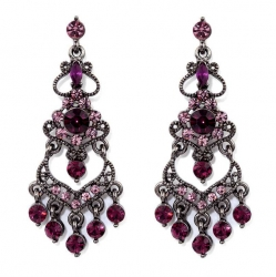 Vintage Style Amethyst Austrian Crystal Chandelier Earrings