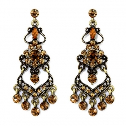 Vintage Inspired Victorian Style Cascading Chandelier Earrings Topaz Austrian Crystal