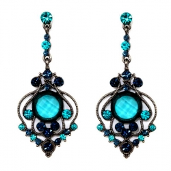 Vintage Style Blue Zircon Austrian Crystal Chandelier Earrings