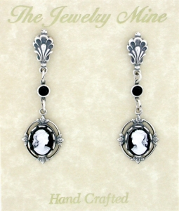 Vintage Victorian Antique Silver Black Cameo Drop Earrings
