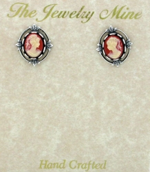 vintage Victorian fashion cameo button earrings