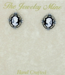 Vintage Victorian Style Cameo Button Earrings