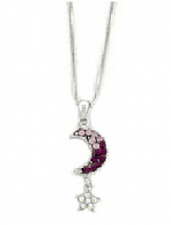 Moon & Star Fashion Necklace - Amethyst Austrian Crystal