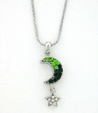 Austrian crystal emerald moon & star fashion necklace