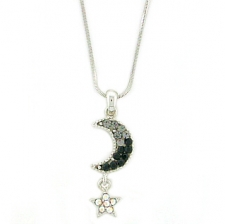 Moon & Star Fashion Necklace - Jet Austrian Crystal