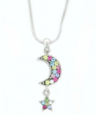 Moon & Star Fashion Necklace - Multi Color Austrian Crystal