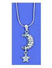 Moon & Star Fashion Necklace - Austrian Crystal