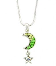 Moon & Star Fashion Necklace - Peridot Austrian Crystal