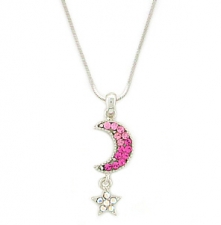 Moon & Star Fashion Necklace - Pink Austrian Crystal