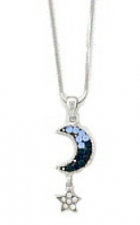 Moon & Star Fashion Necklace - Sapphire Austrian Crystal