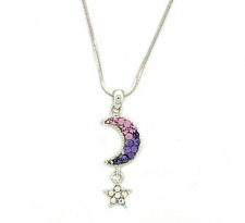 Tanzanite Austrian crystal moon & star necklace