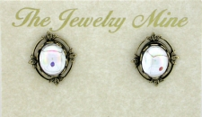 Vintage Victorian Style Crystal AB Button Fashion Earrings