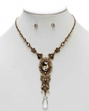 Vintage Inspired Victorian Style Austrian Crystal Filigree Necklace Set