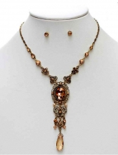 Vintage Inspired Victorian Style Filigree Necklace Set Peach Austrian Crystal