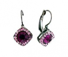 Tiffany Legacy Style Amethyst Austrian Crystal Lever Back Earrings