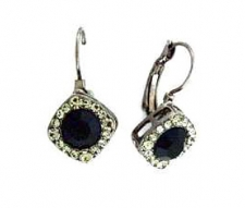 Tiffany Legacy Style Jet Black Austrian Crystal Lever Back Earrings