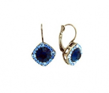 Tiffany Inspired Legacy Style Lever Back Earrings - Montana Blue Austrian Crystal