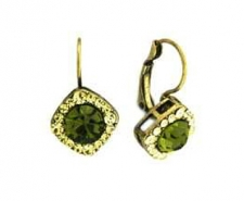 Tiffany Legacy Style Olivine Austrian Crystal Lever Back Earrings