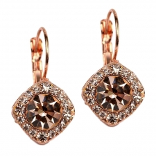 Tiffany Legacy Style Austrian Crystal Lever Back Earrings Rose Gold