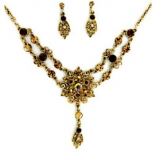 vintage Victorian style Austrian crystal necklace set