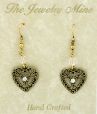 Vintage Victorian Style Austrian Crystal Filigree Heart Earrings