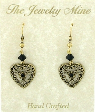 Vintage Victorian Style Jet Black Austrian Crystal Filigree Heart Earrings