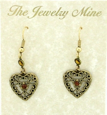 Vintage Victorian Style Topaz Austrian Crystal Filigree Heart Earrings