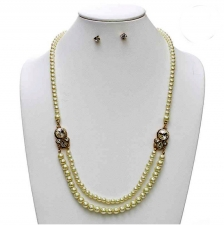 Vintage Style Pearl Fashion Necklace Set