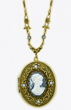 Vintage Victorian Style Blue Cameo Locket Necklace