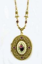 vintage style porcelain cameo locket necklace