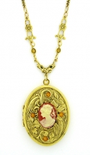 Vintage Victorian Cameo Locket Necklace - Corn/Topaz