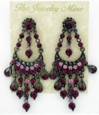 Vintage Victorian Style Amethyst Austrian Crystal Chandelier Earrings