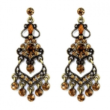 Vintage Style Topaz Austrian Crystal Chandelier Earrings