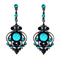 Vintage Inspired Victorian Style Chandelier Earrings - Blue Zircon Austrian Crystal