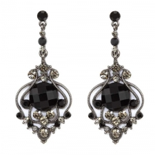 Vintage Inspired Victorian Style Chandelier Earrings - Jet Austrian Crystal