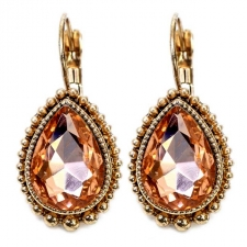Vintage Style Austrian Crystal Lever Back Earrings - Antique Gold/Peach