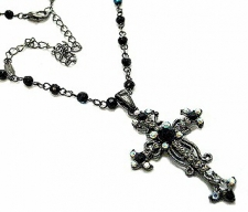 Vintage Inspired Victorian Style Austrian Crystal Cross Necklace - Jet