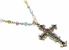 Vintage Inspired Victorian Style Austrian Crystal Cross Necklace - Multi Pastel