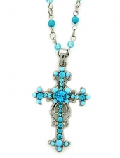 Wholesale Costume Jewelry | Vintage Look Victorian Style Austrian Crystal Cross Necklace - Turquoise