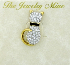 Austrian Crystal Pave' Cat Fashion Brooch Pin