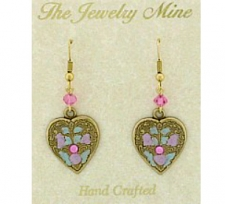 art deco fashion heart earrings