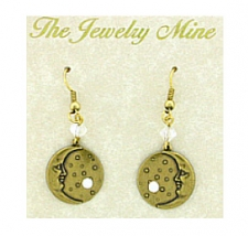 Vintage Celestial Jewelry - Penny Moon Earrings w/Crystals