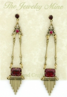 Vintage Art Deco Chandelier Earrings - Ruby Austrian Crystal