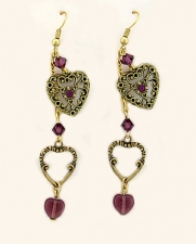 vintage look victorian style filigree heart earrings