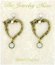 Vintage Victorian Style Open Heart Earrings | Crystal