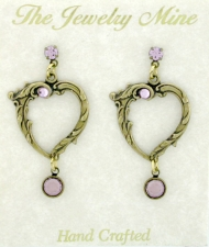 vintage look victorian style open heart earrings